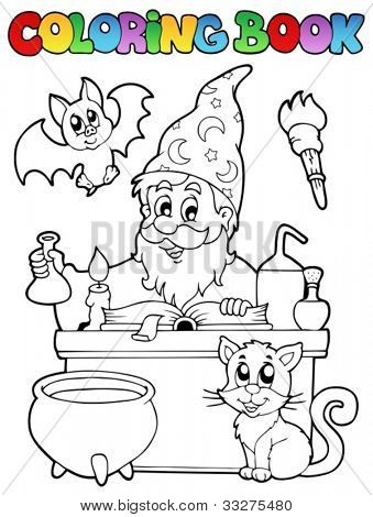 Coloring book alchemist theme 1 - vector illustration.