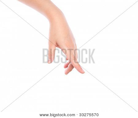 Hand pointing down touching or pressing isolated on white background