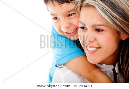 Beautiful portrait of a son hugging his mother - isolated over a white background
