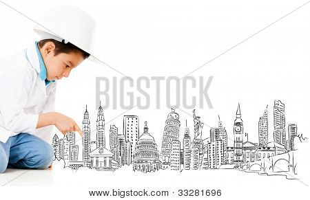 Boy with a graph of the main cities of the world - isolated over a white background