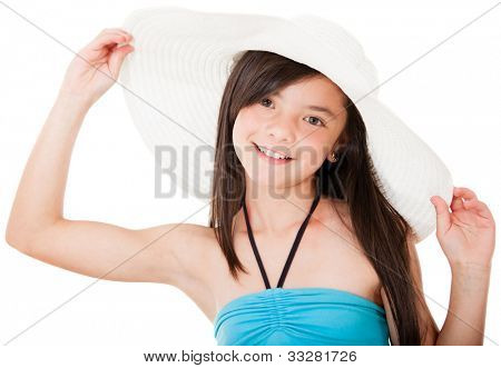 Beautiful girl wearing a hat excited about her summer holidays - isolated