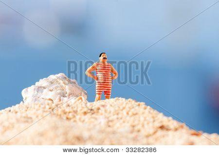 Man In Vintage Swimming Costume