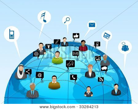 Globe with pointers, signals and social networking icons with peoples, Social media network connection and communication with networking signals, icons and map pointers on blue abstract background.