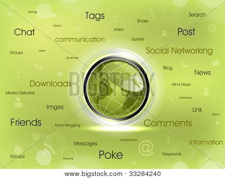 Shiny Globe in green color with social networking icons text, Social media network connection and communication with networking signals, icons  on green abstract background.