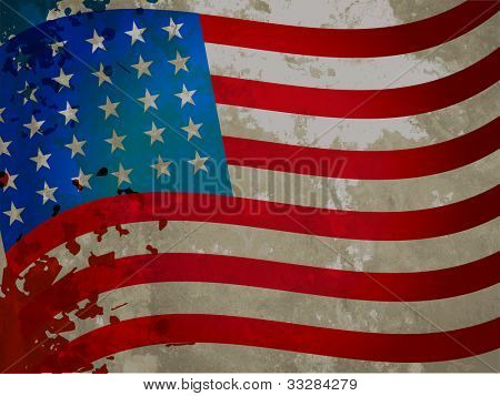 American flag with grungy pattern for Independent Day and other occasions. EPS 10. Can be use as banner, poster and flyer.