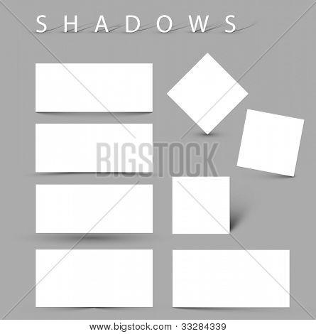 Vektor Schatten Effekte weiße Karten mit realistischen Schatten