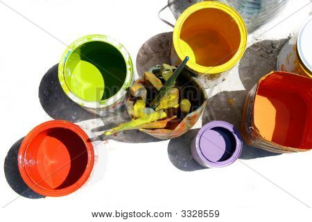 Cans With Colors Partly Isolated Over White