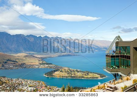 Landscape of queenstown with lake Wakatipu from top, new zealand, south island
