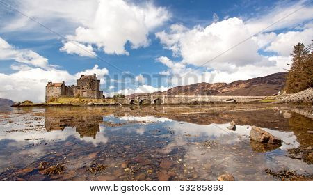 Panorama of Eilean Donan Castle and its Reflection on sea, Highland Scotland.