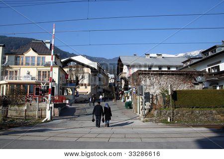 Swiss ski chalets in resort of Crans Montana in Switzerland
