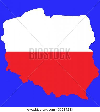 Red outline map of Poland in colors of flag isolated on blue with clipping path.