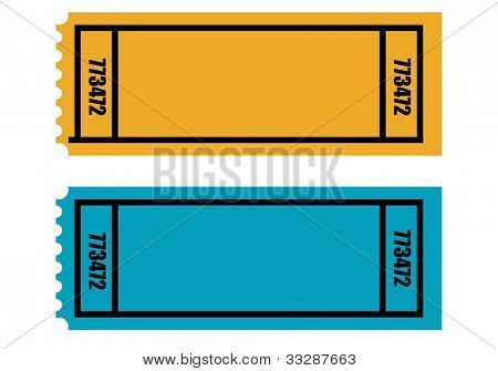 Two blank perforated tickets, isolated on white background.