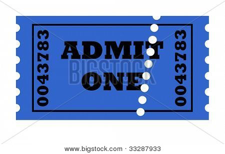 Admit one perforated ticket isolated on white background with copy space.
