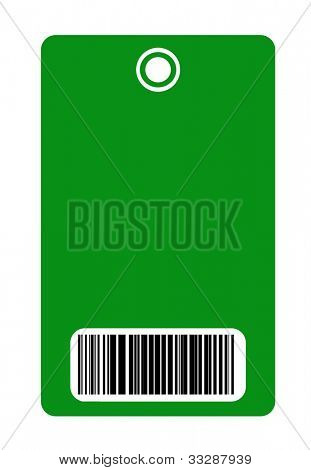 Blank green security pass with bar code reader, isolated on white background.