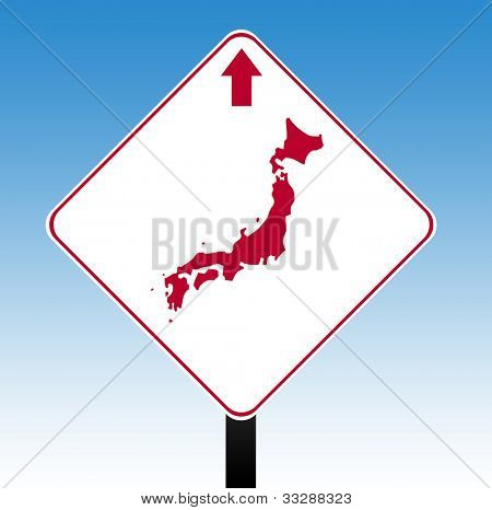 Japan road sign in flag colors with directional arrow, blue sky background.