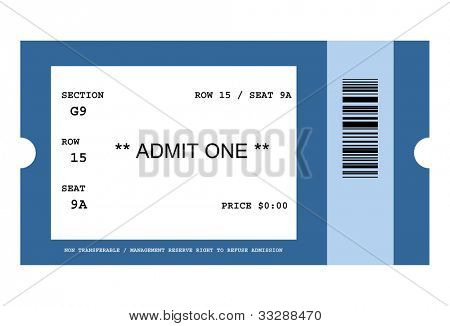 Illustration of ticket for event with bar code, isolated on white background.