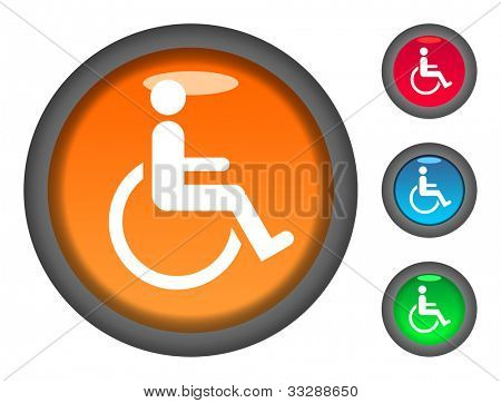 Set of colorful circular disabled button icons, isolated on white background.