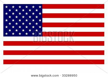 American Flag isolated on white Background.