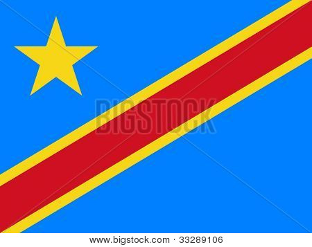 Sovereign state flag of country of Democratic Republic of Congo in official colors.