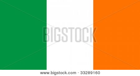 Sovereign state flag of country of Republic of Ireland in official colors.