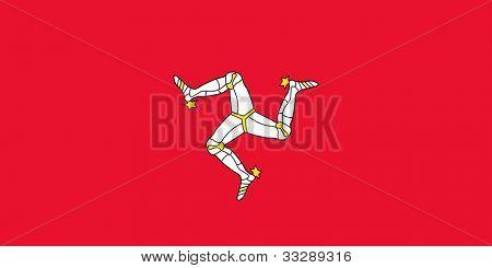 souveräner Staatsflagge abhängige Land der Isle Of Man in offiziellen Farben.