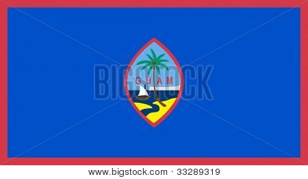 Sovereign state flag of dependent country of Guam in official colors.