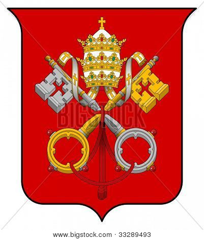 Vatican City coat of arms, seal or national emblem, isolated on white background.