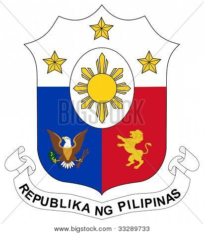 Philippines coat of arms, seal or national emblem, isolated on white background.