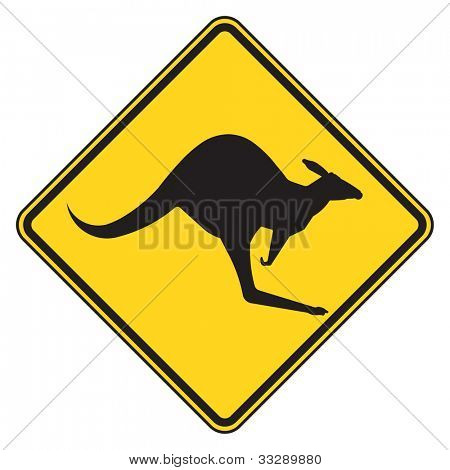 Australian kangaroo crossing warning sign, isolated on white background.
