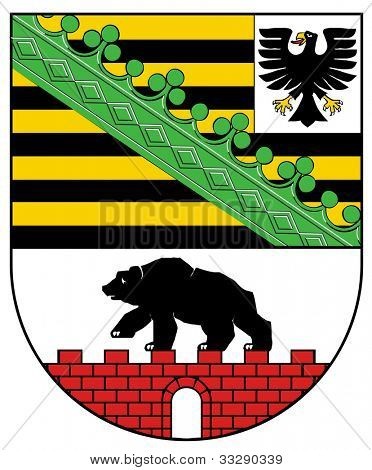 Sachsen and Anhalt coat of arms, isolated on white background. German state.
