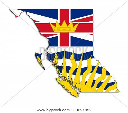 National flag of British Columbia on map of province in Canada. Isolated on white background.