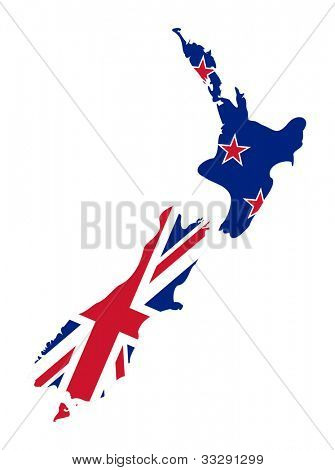 Illustration of the New Zealand flag on map of country; isolated on white background.