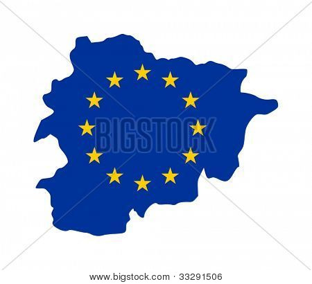 European flag on mag of Andorra; isolated on white background.