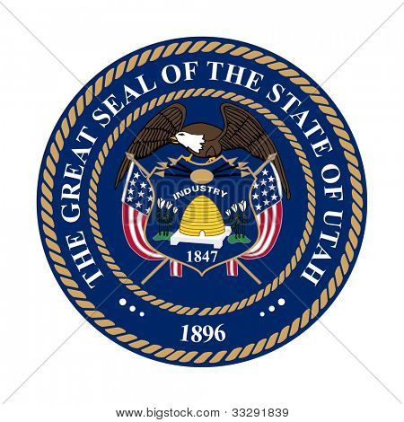 Seal of American state of Utah; isolated on white background.
