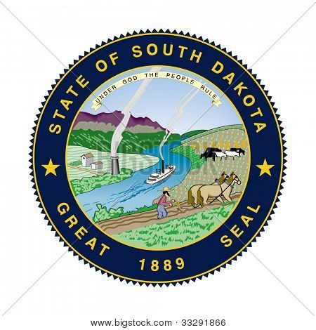 Seal of American state of South Dakota; isolated on white background.