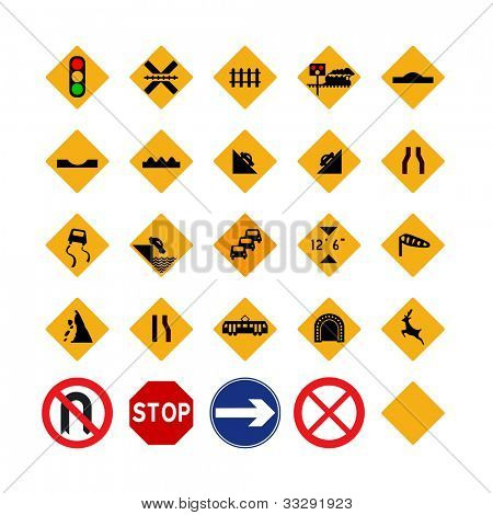 Illustrated set of amber traffic signs; isolated on white background