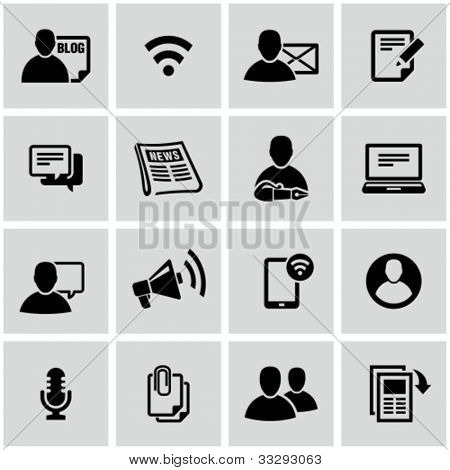 Blog and social media related icons set.