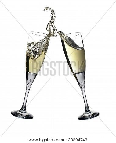 Celebration Toast With Pair Of Champagne Flutes