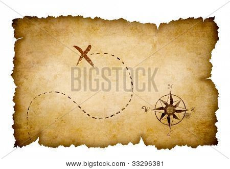 Pirates treasure map with marked