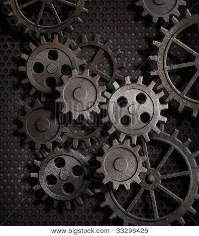 rusty gears metal background