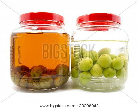 Before And After Pickle Japanese Plum Liqueur In Glass Jar