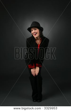 Pretty Teen In Retro Look Black With Top Hat