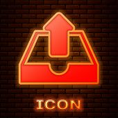 Glowing Neon Upload Inbox Icon Isolated On Brick Wall Background. Vector Illustration poster