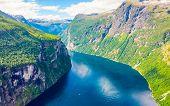 Fjord Geirangerfjord Landscape, Norway. poster