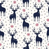 Winter Holidays Vector Seamless Pattern, Black Hand-drawn Deer And Snowflakes On White Background. C poster