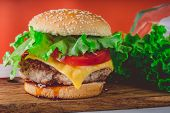 Hamburger Or Sandwich. Delicious Sandwich Hamburger With Meat, Cheese And Fresh Vegetable. Hamburger poster