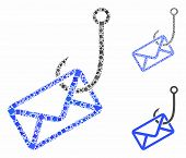 Mail Phishing Hook Mosaic Of Tuberous Pieces In Variable Sizes And Color Tinges, Based On Mail Phish poster