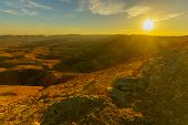 Sunset View Of Hamakhtesh Hagadol (the Big Crater), In The Negev Desert, Southern Israel. It Is A Ge poster