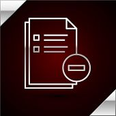 Silver Line Document With Minus Icon Isolated On Dark Red Background. Clear Document. Remove File Do poster