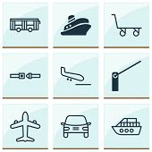 Delivery Icons Set With Shipping Tour, Vessel, Trolley And Other Boat Elements. Isolated Vector Illu poster
